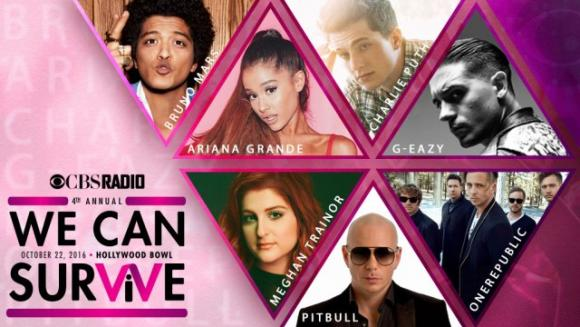 Bruno Mars, Ariana Grande, Meghan Trainor & Pitbull at Hollywood Bowl